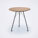 CIRCUM Table Ø74 x 74 cm, Black. Powder coated Metal Frame, Bamboo Table Top.