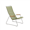 CLICK Lounge Chair with Olive green lamellas. Powder coated grey metal Armrests in bamboo.