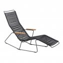CLICK Sunrocker with armrests in bamboo. Black lamellas Powder coated grey metal.