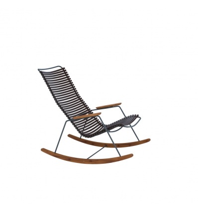 CLICK Rocking Chair with Black lamellas. Powder coated grey metal Parts in bamboo.