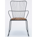 PAON Dining Chair, Black. Powder coated Metal Frame, Bamboo Seat.