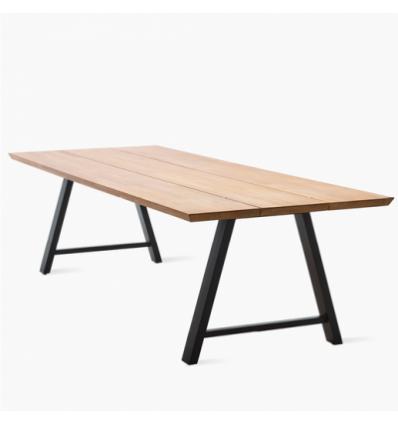 Matteo Rectangular table black 285X100 Teak Top