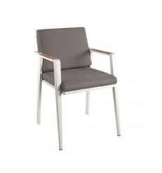 Antibes dining chair alu white / cush grey / teak
