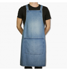A BBQ-STYLE apron made of denim